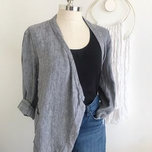 Black and white linen open front cardigan.